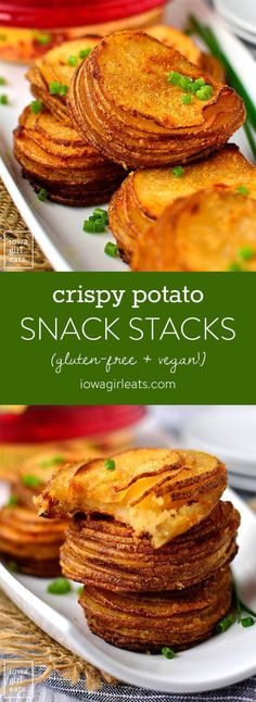 Crispy Potato Snack Stacks are a cinch to make. This 4-ingredient, gluten-free, dairy-free snack or side dish will be a hit with the whole family! | http://iowagirleats.com