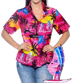 Sunset Hawaiian Blouse Aloha Casual Button Down Women's Tank Top Camp Shirt Pink >>> New and awesome product awaits you, Read it now  : Evening dresses