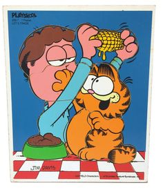 Vintage Playskool Wooden Puzzle Garfield Let's by UpstairsAttic