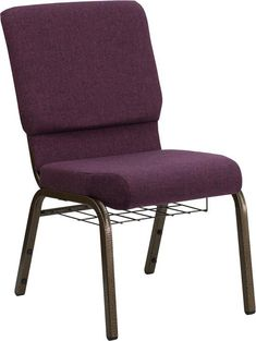HERCULES Series 18.5'' Wide Plum Church Chair with 4.25'' Thick Seat, Communion Cup Book Rack - Gold Vein Frame FD-CH02185-GV-005-BAS-GG by Flash Furniture