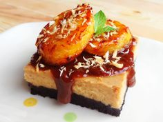 Tofu Cheesecake Bars with Coconut Jam and Caramelized Plantains #vegan