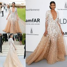 2016 Zuhair Murad Evening Gowns Long Sleeves Champagne Tulle Formal Cleberity Pageant Deep V Neck Applique Prom Party Dress Sweep Train