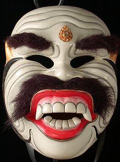 Sidha Karya Putih mask  Bali. Indonesia  7.5 inches, painted wood with hair  Made by I. K. Sarwa