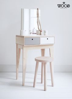 RUNO customized plywood handmade dressing table / scandinavian design // gifts for her / bridesmaid gift Plywood Furniture, Rustic Furniture, Modern Furniture, Furniture Design, Furniture Removal, Office Furniture, Furniture Ideas, Handmade Dressing Tables, Vintage Dressing Tables