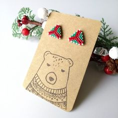 Christmas Is Coming, Christmas Gifts, Ancient Egyptian Artifacts, Resin Glue, Triangle Earrings, Stud Earrings, Native American Beadwork, Beading Techniques, Needle And Thread