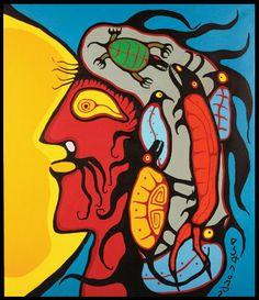 """Shaman"",52""x45"", © 1980s Norval Morrisseau Native American Artists, Canadian Artists, Native Canadian, South American Art, Woodland Art, Indian Artist, Famous Art, Indigenous Art, Geronimo"