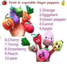 Mini-Soft-Toy-Finger-Puppets-For-Kids-Hands-Fruits-And-Vegetables-Story-Time-NEW