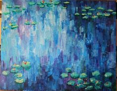 Impressionism Acrylic Painting with Water Lilies by walterandlucy, $200.00