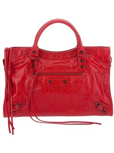 Red leather 'City' bag from Balenciaga