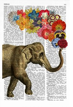 Elephant with Beautiful Flowers nursery wall decor printed on vintage book page perfect for gifts Elefant mit Blumen von PRRINT Image Elephant, Elephant Love, Elephant Art, Nursery Wall Decor, Nursery Art, Art Mural, Wall Art, Art Du Collage, Backgrounds