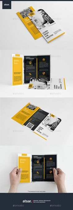 Modern Yellow Trifold Brochure Template #design Download…