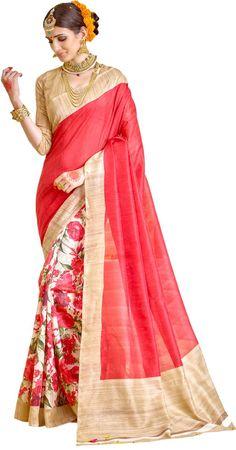 Samskruti Sarees Women's Raw Silk Saree  #HalfNHalfSaree #Floral #RawSilk #EthnicSaree