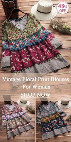 Vintage Floral Print Patchwork 3/4 Sleeve V-neck Blouses For Women. 3 colors options.  #vintage #floral #print