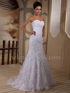 Mermaid / Trumpet Strapless Sweetheart Scalloped-Edge Natural Waist Satin Lace Wedding Dress - US$ 319.99 - Style WD8476 - Helene Bridal