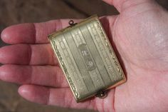 Vintage EAM Coin Bill Case Holder Locket Antique Compact Wristlet Engraved Brass
