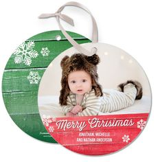 Add an adorable photo to this 'Rustic Redwood' Ornament Cards in a bright red lantern red.