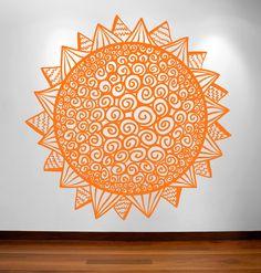 Geometric Sun wall decal geometry sunburst decal by RadRaspberry, $27.00