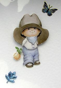 Cowboy Blue  HandCrafted 3D Decoupage Card  Blank by SunnyCrystals, £1.35
