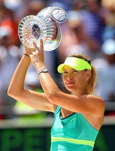 Maria Sharapova holding her #MiamiOpenTennis finalist trophy.