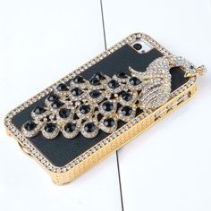 Amazon.com: Pandamimi NEWEST Black Glitter Bling Crystal Diamond Peacock Hard Chrome Glitter Case Leather Case Cover For Apple iPhone 4 4S with Front and Back Screen Protector Film: Cell Phones & Accessories