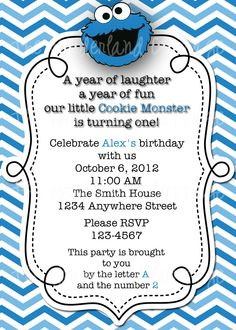 Sesame Street Cookie Monster Invitation and Thank You for Birthday Party. $8.00, via Etsy.