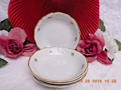 8259 by Walbrzych China Small Roses, Embossed Edge, Gold Trim, 4 Fruit – Rose Cottage Scents