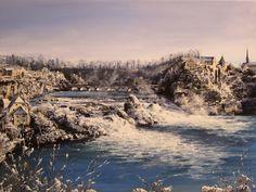 Rheinfall im Winter  Acryl auf leinwand
