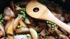 This is a wonderful springtime stew loaded with spring onions or shallots, fresh tarragon and peas. Much of the flavor comes from browning the veal cubes, but be careful: veal is pretty lean, so it doesn't take long to dry out. Stewing it for 15 to 20 minutes (sometimes even less) with a little splash of white wine is all it takes. Add the peas at the end, and cook until they're tender and warm — you don't want to cook all the flavor out of them, especially if they're fresh. (Photo: The New York Times)