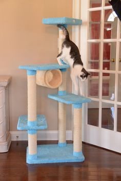 House cats love to scratch, purr and play from safe vantage points. And cat trees for large cats provide them with the perfect spot to do so. Modern Cat Furniture, Pet Furniture, Cat Tree Designs, Cool Cat Trees, Cat Towers, Cat Condo, Scratching Post, Amai, Animal Design