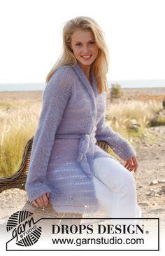 "Crochet DROPS jacket with shawl collar and belt in ""Vivaldi"". Size: S - XXXL ~ DROPS Design"