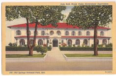 Hale Bath House Vintage Postcard Hot Springs National Park, Arkansas - Bath House Row