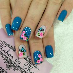 Pin de jenny valverde jiméne en uñas nails, nail designs spring y nail desi Nail Designs Spring, Gel Nail Designs, Rose Nails, My Nails, Gorgeous Nails, Pretty Nails, Flower Nail Art, Creative Nails, Spring Nails