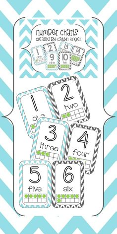 This download contains Chevron Number Posters 1-20 with numbers, number words and ten frames.