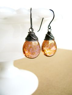 Earrings  Amber Earrings Fall Earrings Orange by luvlaughsparkle, $21.00