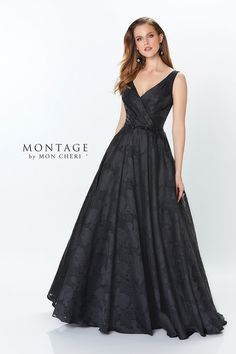 Montage By Mon Cheri 119960 - Perfect for any occasion is this sleeveless burnout organza ballgown with pleated V neck bodice, delicate hand beaded natural waistline, and full ballgown skirt featuring side pockets. 2015 Wedding Dresses, Grad Dresses, Formal Dresses, Mob Dresses, Mothers Dresses, Gown Wedding, Wedding Attire, Wedding Blog, Lace Wedding