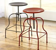 Love the red barstool...very industrial, ecclectic, but cozy looking...