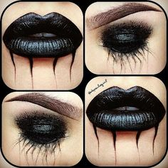 NYX Black Mascara, Gel Liner, Hot Black Eyeshadow, & Liquid Line Black lips & eyes - halloween make up ideas Witch Makeup, Sfx Makeup, Costume Makeup, Makeup Art, Makeup Ideas, Makeup Lipstick, Demon Makeup, Creepy Makeup, Horror Makeup