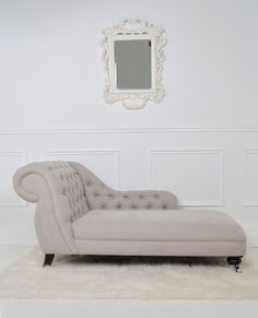 The Laurent Chaise longue has a deeply buttoned back and arm rest with deliciously shapely curves. The seat is long enough for you to stretch your legs out and the back high enough to support your shoulders. Sofa Seats, Lounge Sofa, Chaise Sofa, Sofa Design, Furniture Design, Interior Design, Furniture Chairs, Bedroom Chair, Bedroom Decor