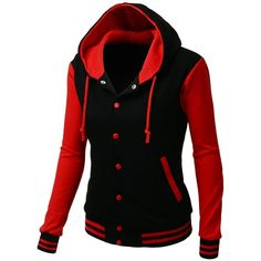 Xpril Women's Stylish High Quality Fabric Hoodie Baseball Jacket... ($30) ❤ liked on Polyvore featuring outerwear and jackets