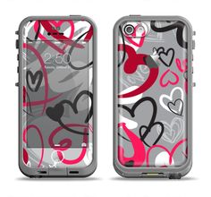 The Vector Love Hearts Collage Apple iPhone 5c LifeProof Fre Case Skin Set