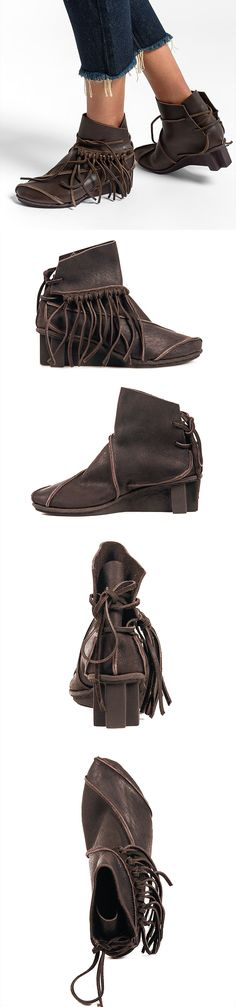 Trippen California Fringed Bootie in Espresso Brown | Santa Fe Dry Goods & Workshop #trippen #trippenshoes #trippenusa #wedgeshoe #boots #shoes #fringe #leather #bootie #bohomian #boho #fashion #clothing #style #santafe #santafedrygoods