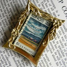 Items similar to Vintge Illinoise Framed Stamp on Etsy Shabby Chic Birdhouse, Arts And Crafts, Paper Crafts, Postage Stamp Art, Recycling Ideas, Love Stamps, Travel Wall, Tiny Dolls, Tiny Treasures