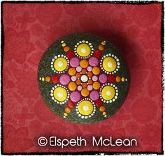 Jewel Drop Mandala Stone by Elspeth McLean #mandala #elspethmclean #paintedstone #rockart #colourful #dotty