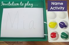 Invitation to play name dot painting - learning4kids