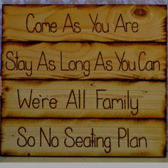 Casual wedding: No seating plan