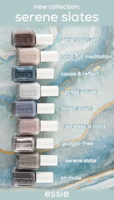 meet the 9 new shades in the essie serene slates nail polish collection: & zen& mauve taupe gray; & meditation& a meet the 9 new shades in the essie serene slates nail polish collection: & zen& mauve taupe gray; Slate Nails, Essie Nail Polish Colors, Gray Nail Polish, Pink Nail, Style Rockabilly, Nagellack Design, Do It Yourself Fashion, Hair Skin Nails, Nail Polish Collection