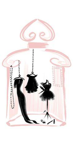 Le dressing parfumé La Petite Gown Noire ~ what a beautiful little art work! Parfum Guerlain, Illustrations, Illustration Art, Boutique Logo, Bellatrix, Fashion Sketches, Cute Wallpapers, Perfume Bottles, Drawings