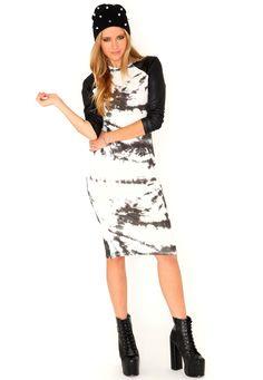 Norma Contrast Sleeve Tie Dye Dress