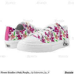 Flower Doodles 1 Pink, Purple, Peach and Lime Prin Printed Shoes