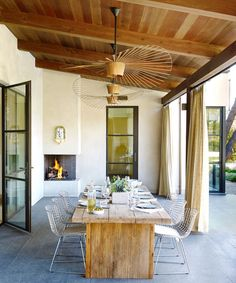A highlight of our Portola Valley Courtyard House is the outdoor dining room, which is shaded by a roof overhang and has a row of outdoor… Indoor Outdoor Living, Outdoor Dining, Outdoor Spaces, Custom Home Builders, Custom Homes, Courtyard House, Decks And Porches, Summer Solstice, Porch Swing